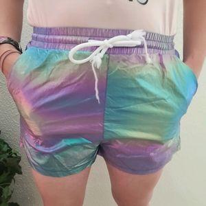 Beautiful Mermaid  Iridescent Drawstring Shorts
